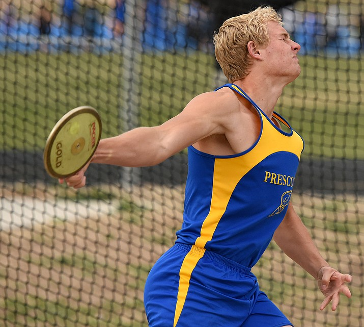 Prescott's David Pearce competes in the discus throw Thursday afternoon March 31, 2016 during the Prescott High School Invitational track meet at PHS.  (Matt Hinshaw/The Daily Courier)