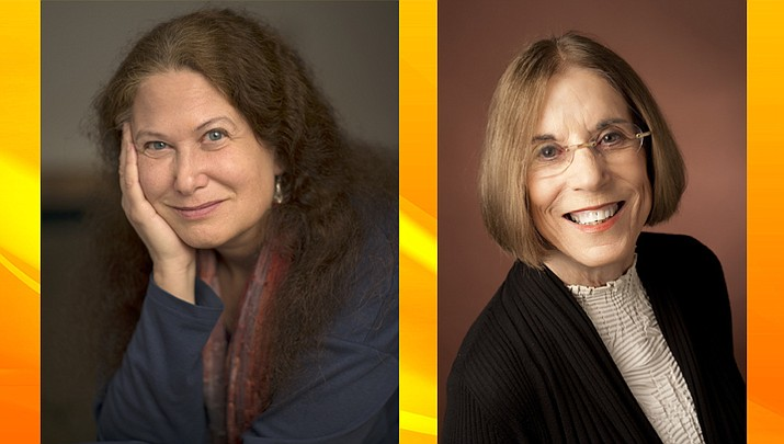 Jane Hirshfield, left (photo by Curt Richter), and Susan Terris, right