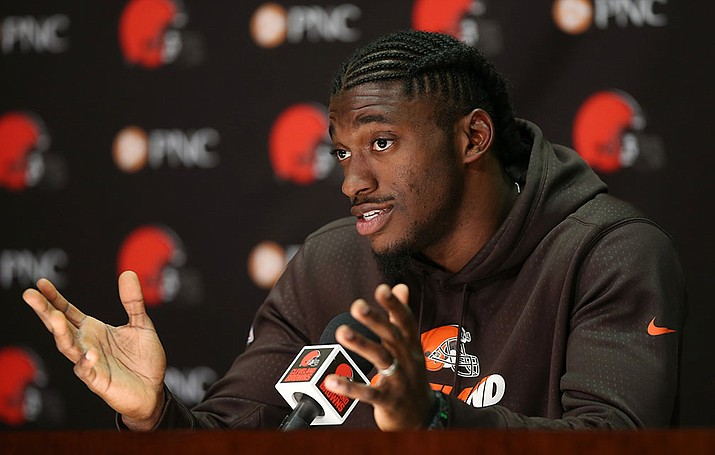 Cleveland Browns quarterback Robert Griffin III answers a question during a news conference Wednesday, April 6, in Berea, Ohio.