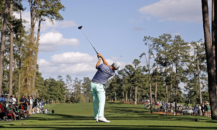 Danny Lee, of New Zealand, tees off on the 17th hole during the first round of the Masters golf tournament Thursday, April 7, in Augusta, Ga. (Jae C. Hong/Associated Press)