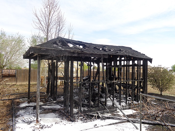 A fire Thursday morning reduced a shed to  charred frame in Chino Valley.