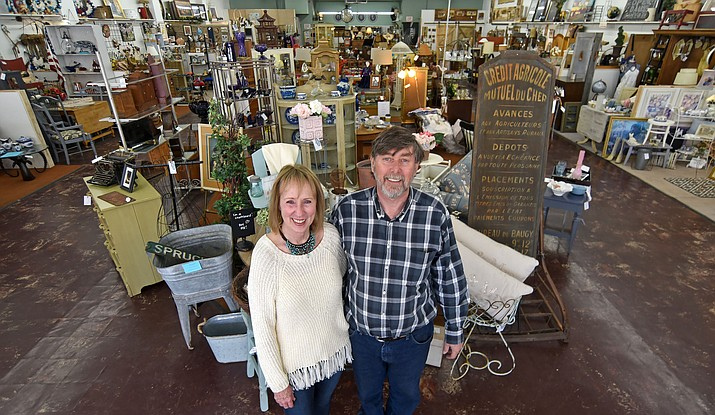 Laura and Fred Hughes owners of the Cortez Street Emporium recently expanded their business by purchasing the vacant space next door and renamed it The Marketplace on Cortez Street. The Marketplace provides spaces for clients to sell home decor and furnishings. (Matt Hinshaw/The Daily Courier)