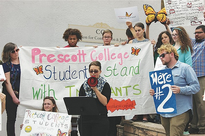 Miriel Manning speaks about her and her peers' efforts to successfully establish a scholarship for undocumented students that will now be offered by Prescott College starting in the fall. (Photo by Max Efrein)