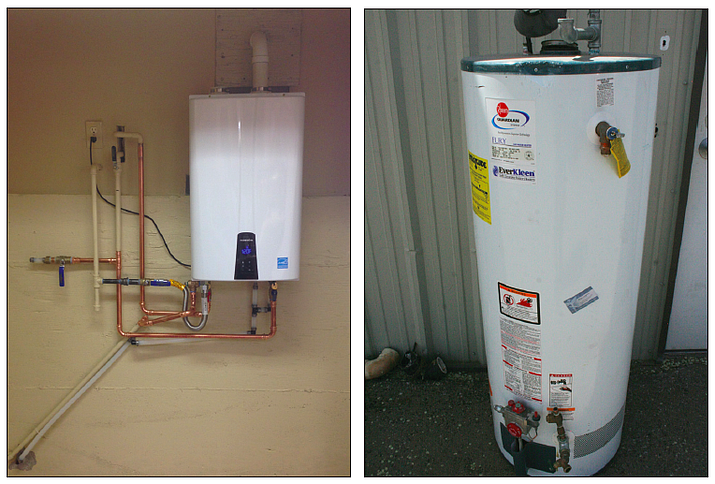 A tank-less water heater, left, installed by The Plumbing Store in a quad-city area resident's home. At right is a storage water heater sitting outside The Plumbing Store in Prescott.