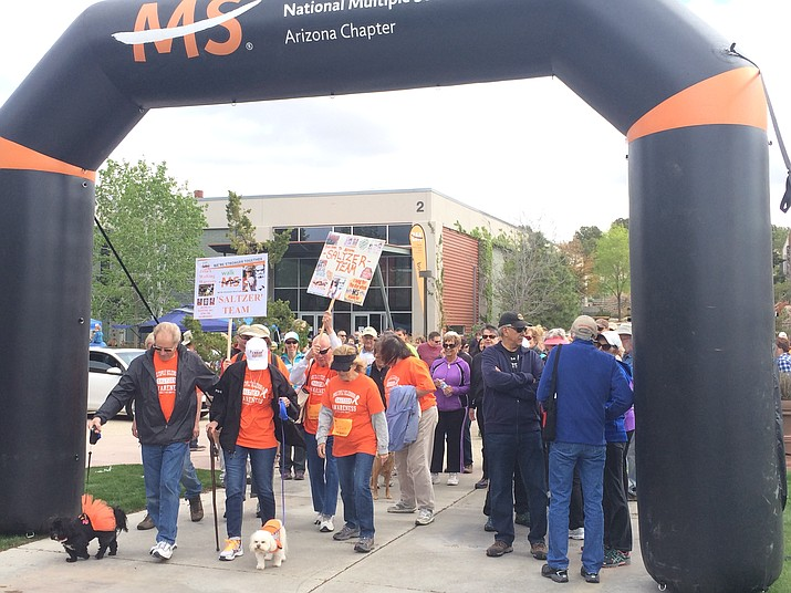 Teams leave the starting line for the Walk for MS Saturday in Prescott.