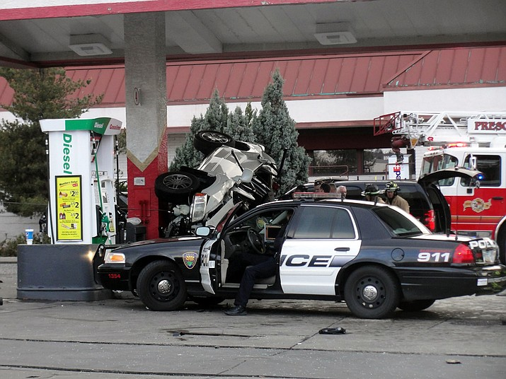 One man was confirmed dead Sunday in a crash at the Circle K on Prescott's Gurley Street.