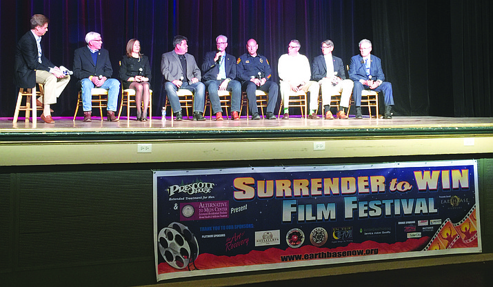 An eight-member panel discussed the opening film at the Surrender to Win film festival over the weekend.