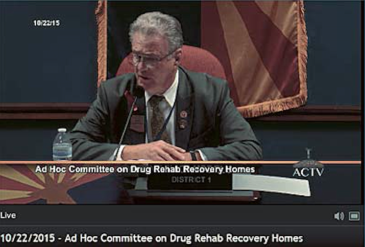 State Rep. Noel Campbell, the chairman of the State Legislature's Ad Hoc Committee on Drug Rehab Recovery Homes, leads a committee meeting Thursday morning, Oct. 22, in this captured screen shot from the online broadcast of the meeting.