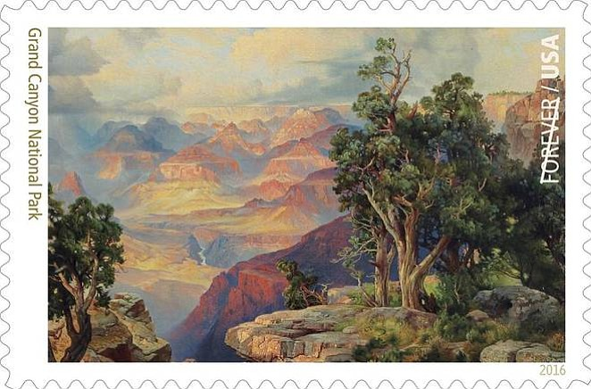The Grand Canyon painting was done by artist Thomas Moran in 1912 and has a view off Hermit Road on the South Rim of the canyon. It is showcased in this new USPS stamp.