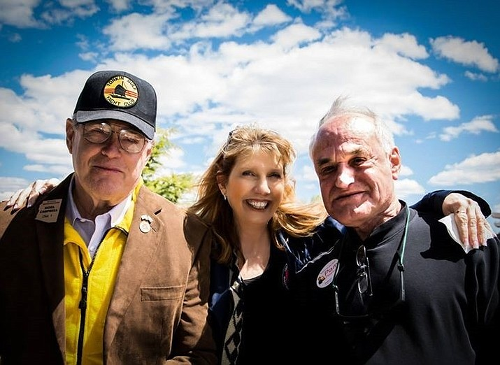 From left, state Rep. Noel Campbell, County Assessor Pam Pearsall and Barry Goldwater Jr. at the College Republicans' annual Family BBQ at Embry-Riddle Aeronautical University on Saturday, April 16.