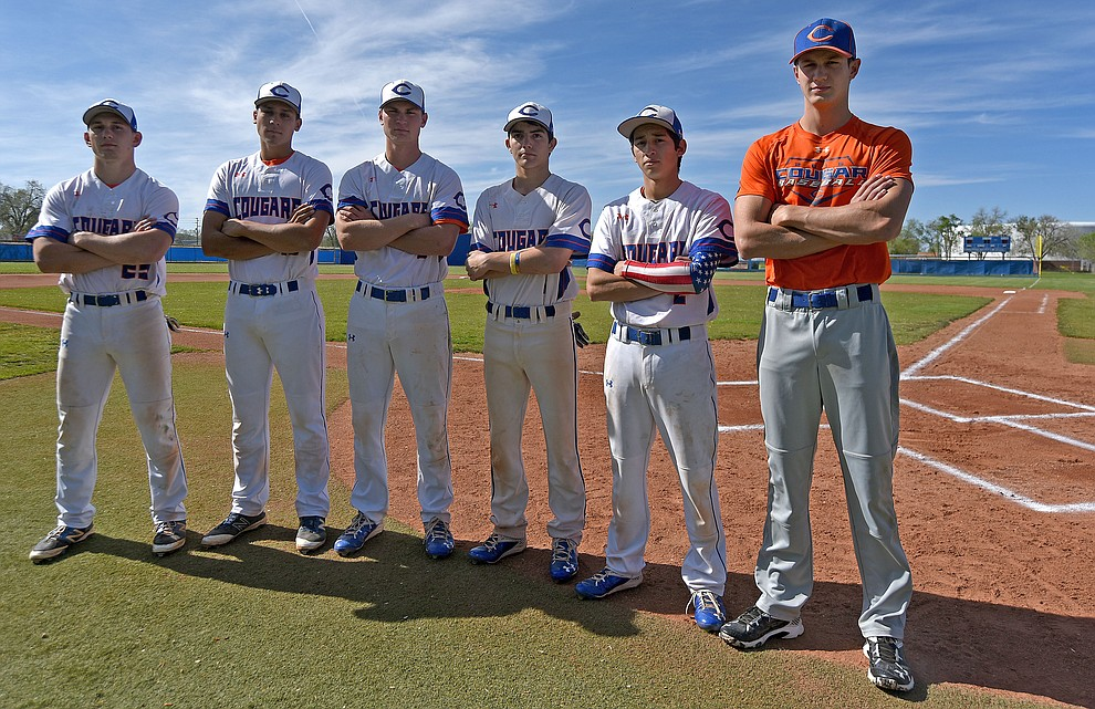 From right, Chino Valley baseball team seniors Manager Garrett King, Israel Acosta, Trevor Drake, Jake Clawson, Jared Tippit, and Spencer Coffin gather for a photo before their final regular season home game against Mohave Tuesday afternoon April 19, 2016 at Chino Valley High School. (Matt Hinshaw/The Daily Courier)