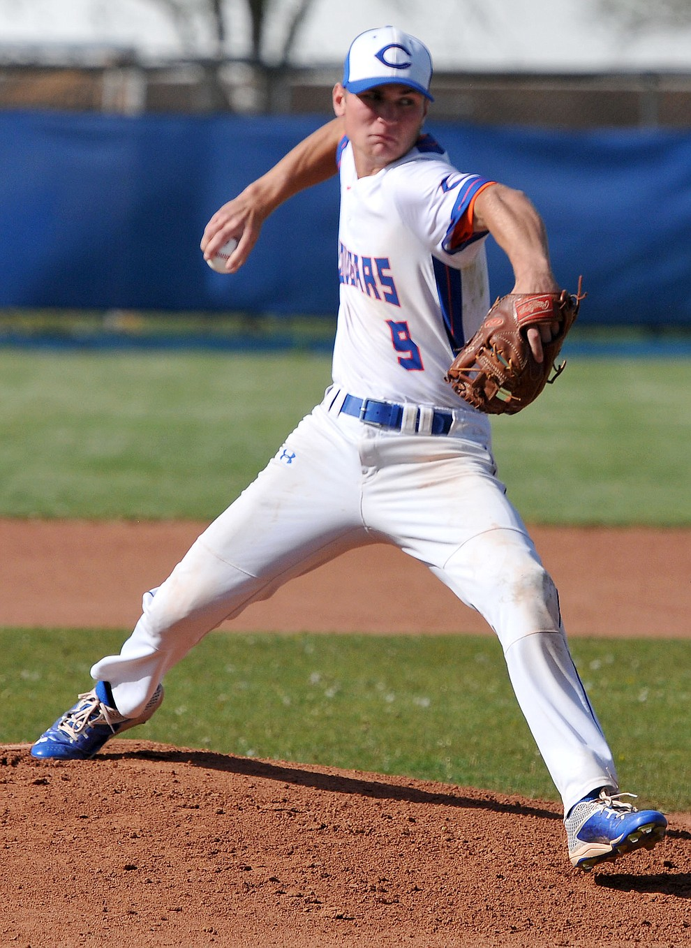 Chino Valley's Jake Clawson (9) fires a pitch towards home plate Tuesday afternoon April 19, 2016 while playing their last regular season home game against Mohave at Chino Valley High School. (Matt Hinshaw/The Daily Courier)