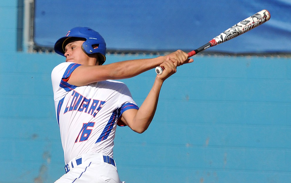 Chino Valley's Jared Tippit (16) makes contact with a ball Tuesday afternoon April 19, 2016 while playing their last regular season home game against Mohave at Chino Valley High School. (Matt Hinshaw/The Daily Courier)