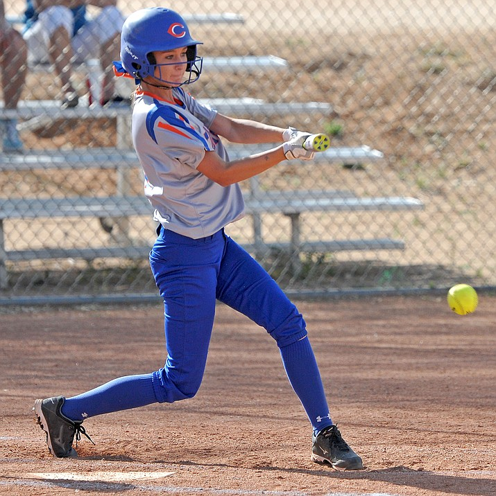 Chino Valley's Maddy Hooper (11) makes contact with a ball Thursday afternoon April 21, 2016 while playing against Northland Prep at Chino Valley High School.  Chino beat Northland Prep 11-1 in 5 innings. (Matt Hinshaw/The Daily Courier)