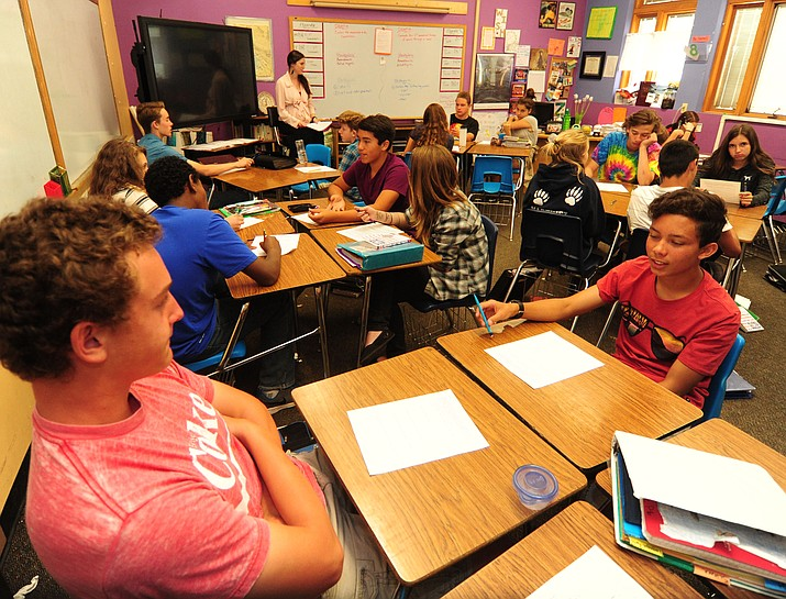 Prescott Mile High Middle School 8th grade social studies teacher Liz Saari has a full house with 35 students in her afternoon class. (Les Stukenberg/The Daily Courier)