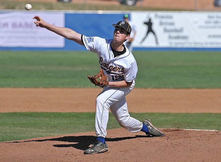 In this file photo, Prescott's Griffin Hays fires a pitch April 22 against Tolleson. Hays pitched 4-2/3 innings on Saturday afternoon, allowing four runs on eight hits in a 8-7 victory over McClintock in the first round of the Division II state playoffs in Prescott. (Matt Hinshaw/The Daily Courier)