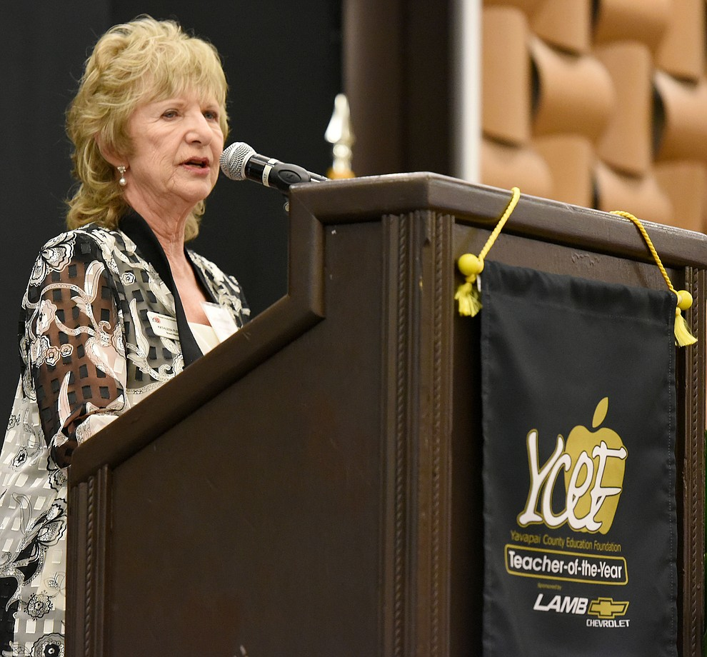 Kathleen Fleenor the Yavapai County Education Foundation's 2016 Lifetime Achievement Award Recipient talks about her 48 year career in education Friday night April 22, 2016 during the 22nd Annual Yavapai County Education Foundation's Teacher of the Year Award Ceremony and Banquet at the Prescott Resort. (Matt Hinshaw/The Daily Courier)