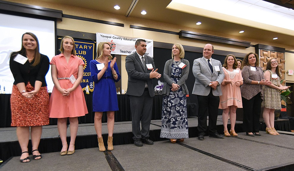 The nominees and finalists in the Outstanding First-Year Teacher Category are recognized before the winner is announced Friday night April 22, 2016 during the 22nd Annual Yavapai County Education Foundation's Teacher of the Year Award Ceremony and Banquet at the Prescott Resort. (Matt Hinshaw/The Daily Courier)