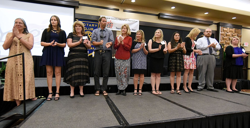 The nominees and finalists in the K - 5th Grade Category are recognized before the winner is announced Friday night April 22, 2016 during the 22nd Annual Yavapai County Education Foundation's Teacher of the Year Award Ceremony and Banquet at the Prescott Resort. (Matt Hinshaw/The Daily Courier)