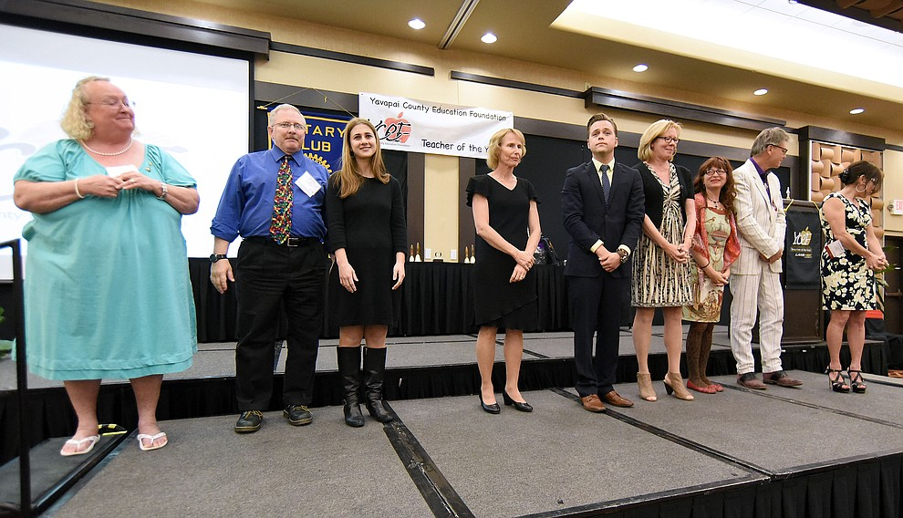 The nominees and finalists in the Cross-Grades Specialist K - 8th Category are recognized before the winner is announced Friday night April 22, 2016 during the 22nd Annual Yavapai County Education Foundation's Teacher of the Year Award Ceremony and Banquet at the Prescott Resort. (Matt Hinshaw/The Daily Courier)