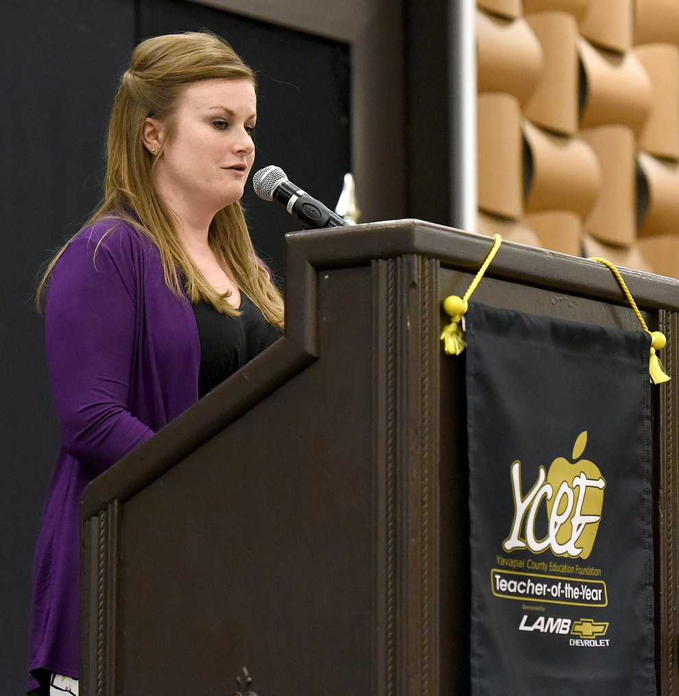 Larnell Sawyer the 2015 Teacher of the Year talks about her past year as the winner before the announcement of the 2016 Teacher of the Year Friday night April 22, 2016 at the Prescott Resort. (Matt Hinshaw/The Daily Courier)