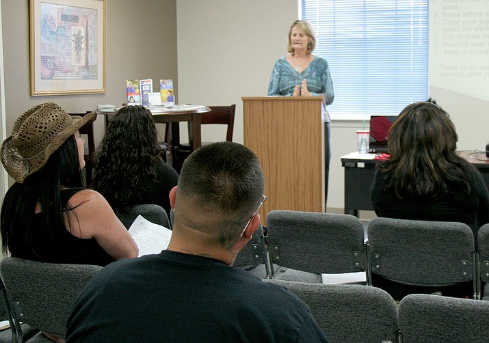 Project Specialist Cathee Carlson, with Arizona@Work, conducts an orientation class for people interested in changing careers or looking for employment at the Yavapai County Workforce Connection OneStop Center, 221 N. Marina St., Prescott.