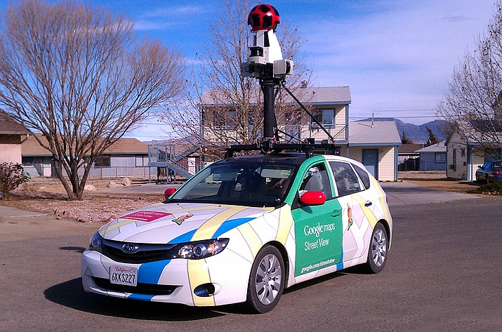 This Google Maps Street View vehicle is filming streets throughout Prescott Valley this week. The colorful compact car features a high-tech camera unit on top that includes face-blurring technology, which makes sure people on the streets or driving by cannot be identified.