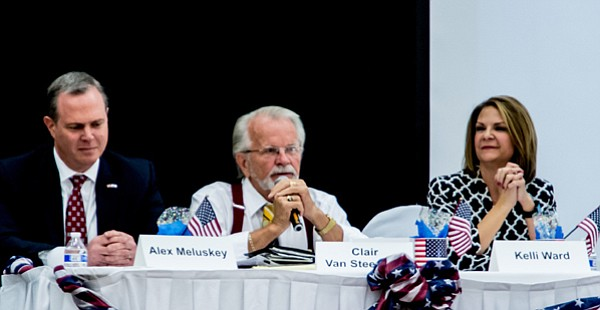 Candidates for U.S. Senate Alex Meluskey, Clair Van Steenwyk and Dr. Kelli Ward attended the Republican Women of Prescott meeting April 12.