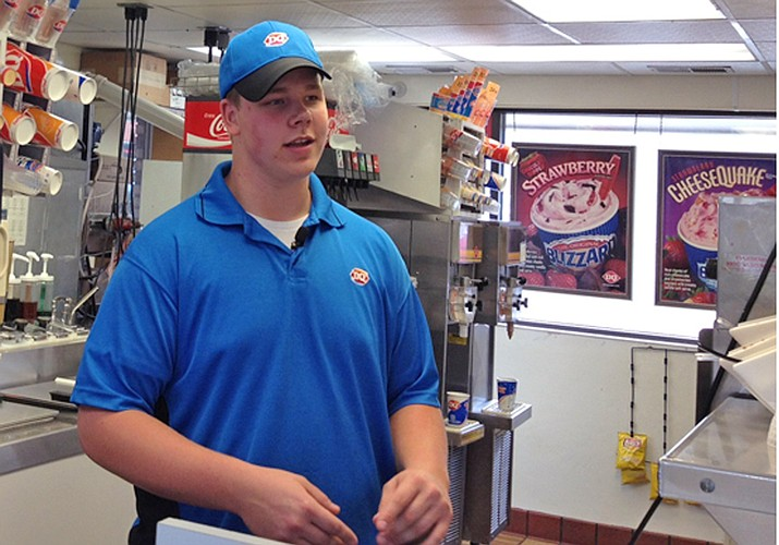 Dairy Queen store manager Joey Prusak talks about his good deed in Hopkins, Minn. (Screen grab courtesy of WCCO TV provided through Associated Press)