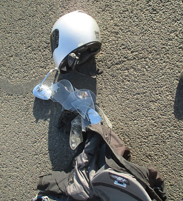 Police credit helmets worn by the motorcycle riders with preventing them from being injured more seriously.