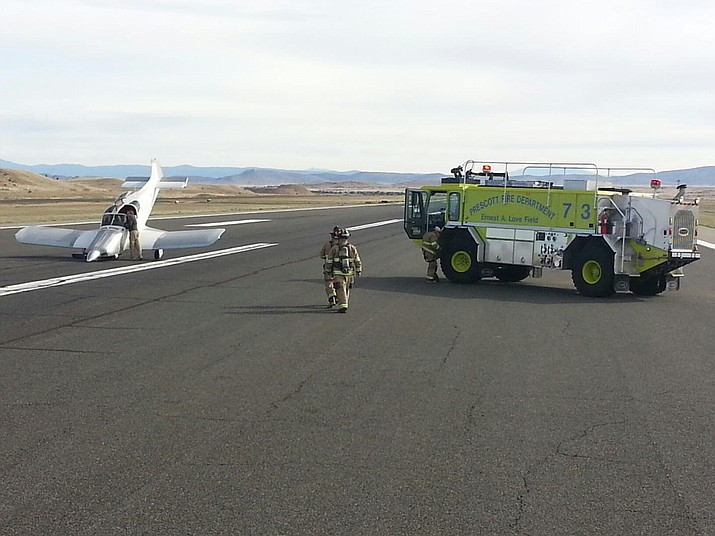 A small plane's nose landing gear collapsed Monday morning at Prescott Municipal Airport (Ernest A. Love Field), but no one was injured.