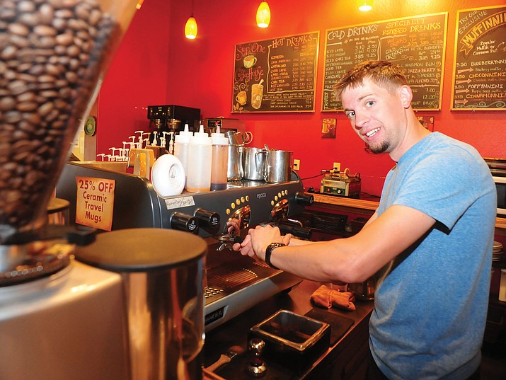 Brandon Duncanson, Step One Coffee House manager, at work in Prescott Valley.