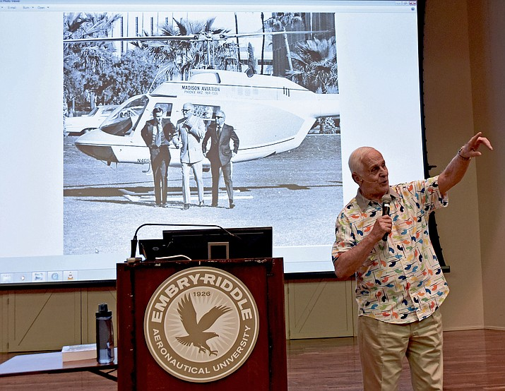 Jerry Foster, a former Phoenix news television station helicopter pilot, talks about his friendship with Barry Goldwater and landing a helicopter on the lawn of Grady Gammage Memorial Auditorium at ASU Tuesday night April 19, during the monthly Embry-Riddle Aeronautical University lecture series in Prescott.