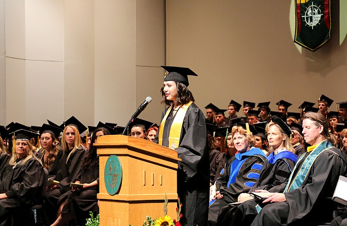 Remington Stoddard gives the student commencement speech to her fellow Yavapai College graduates Saturday, May 7, in the YC Performance Hall.