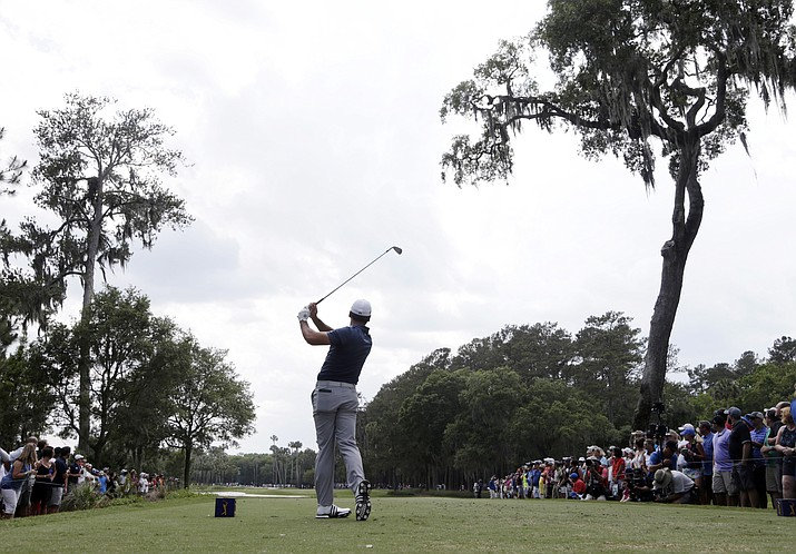 Jason Day of Australia hits from the sixth tee during the second round of The Players Championship golf tournament Friday, May 13, in Ponte Vedra Beach, Fla.