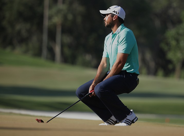 Jason Day of Australia, reacts to a missed putt on the 14th green during the third round of The Players Championship golf tournament Saturday, May 14, in Ponte Vedra Beach, Fla. Day made par on the hole.