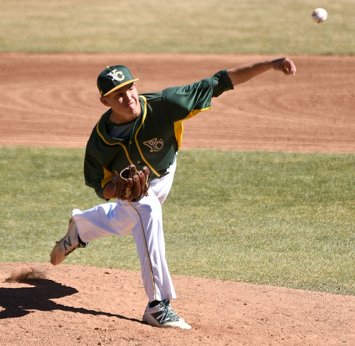 Yavapai College pitcher Avery Weems fires a pitch Feb. 23 against Cochise College at Roughrider Park in Prescott. Weems went 6 innings against Miles College, allowing three runs on nine hits and struck out seven in a 13-5 win for the Roughriders. (Matt Hinshaw/The Daily Courier)