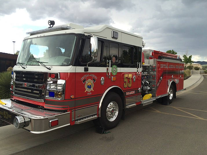 The Central Arizona Fire and Medical Authority displays its brand-new Engine 53 outside the Prescott Valley public library Tuesday afternoon. The 2015 Rosenbauer Commander, a class-1 pumper cost the department about $400,000.