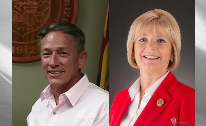 Chip Davis, left, and Karen Fann