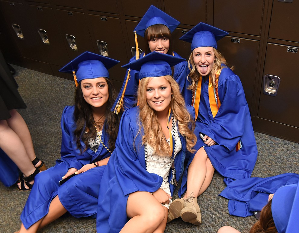 Relaxing before Prescott High School holds their Commencement Ceremony for the Class of 2016 on May 27, 2016.  (Les Stukenberg/The Daily Courier)