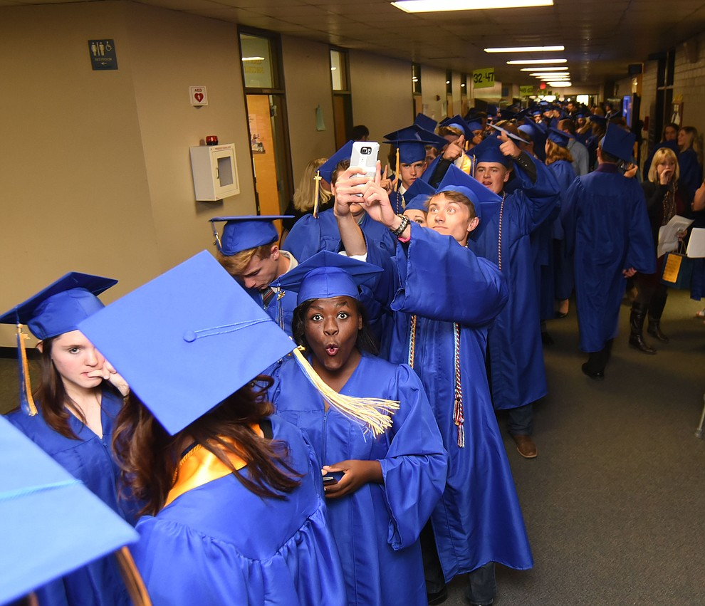 Long hallways of blue and gold as Prescott High School holds their Commencement Ceremony for the Class of 2016 on May 27, 2016.  (Les Stukenberg/The Daily Courier)