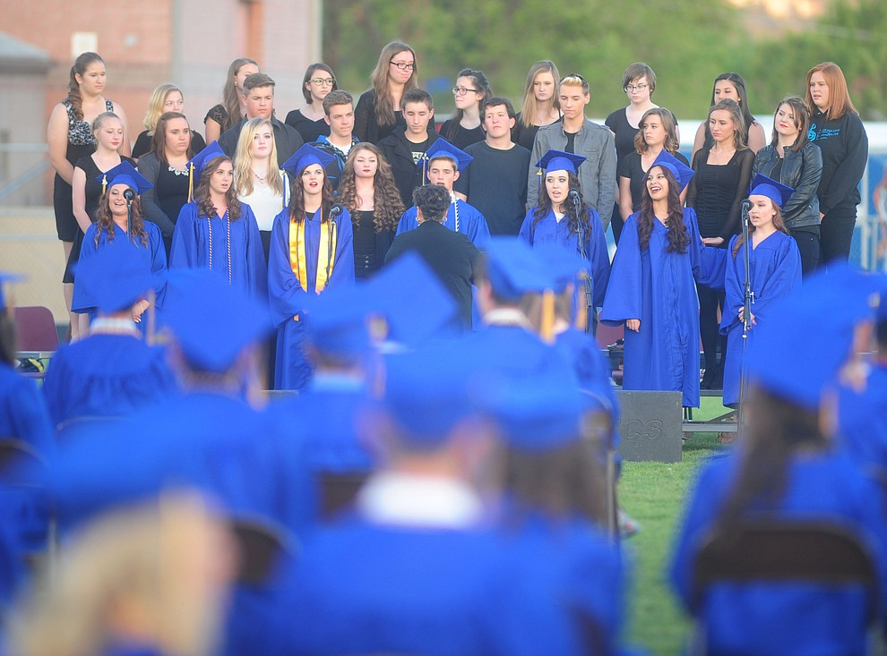 "The PHS Chorale Union performs ""For Good"" as Prescott High School holds their Commencement Ceremony for the Class of 2016 on May 27, 2016.  (Les Stukenberg/The Daily Courier)"