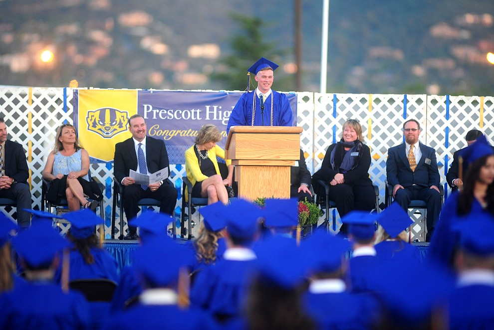 Kolby Hunter introduces Governor Doug Ducey as Prescott High School holds their Commencement Ceremony for the Class of 2016 on May 27, 2016.  (Les Stukenberg/The Daily Courier)