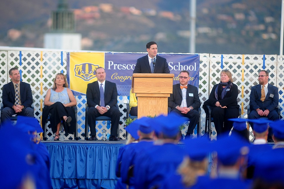 Arizona Governor Doug Ducey speaks as Prescott High School holds their Commencement Ceremony for the Class of 2016 on May 27, 2016.  (Les Stukenberg/The Daily Courier)