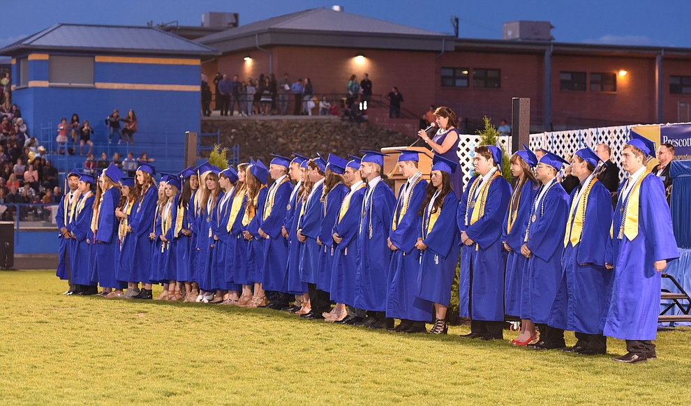 Graduates With Distinction are recognized as Prescott High School holds their Commencement Ceremony for the Class of 2016 on May 27, 2016.  (Les Stukenberg/The Daily Courier)