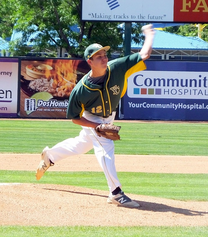 Yavapai College pitcher Avery Weems delivers the ball in an elimination game against Cowley County College on Tuesday in the Junior College Baseball World Series. The Roughriders won, 6-2.