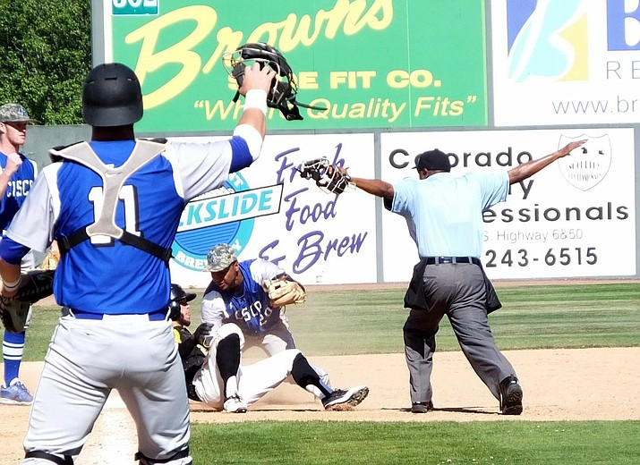 Yavapai College centerfielder Nate Easley is called safe at third during the Roughriders 15-14 come-from-behind victory over Cisco (Texas) Wednesday, June 1, in the losers' bracket of the JuCo World Series.