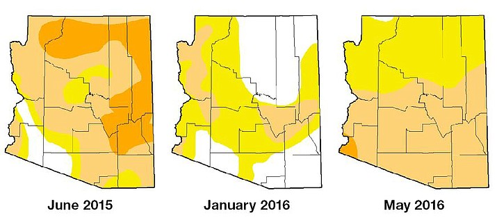 Drought maps from the National Drought Mitigation Center indicate the intensity of drought conditions, and changes over time. White indicates no current drought conditions, yellow indicates abnormally dry, light orange indicates moderate drought and darker orange indicates severe drought. There are two other drought conditions not present in Arizona: extreme drought and exceptional drought.