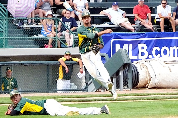 Yavapai College third baseman Turtle Kuhaulua throws to first for the out in an elimination game Thursday during the Junior College Baseball World Series in Grand Junction, Colorado. (Joseph Harold, Montrose Daily Press/Courtesy)