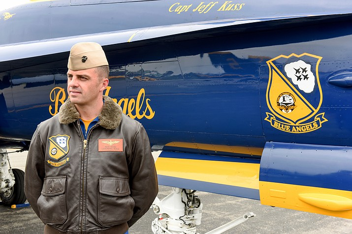 This May 19, 2016, photo shows Marine Capt. Jeff Kuss at an air show in Lynchburg, Va. A Blue Angels F/A-18 fighter jet crashed Thursday, June 2, near Nashville, Tenn., killing the pilot just days before a weekend air show performance, officials said. A U.S. official said the pilot was Kuss.
